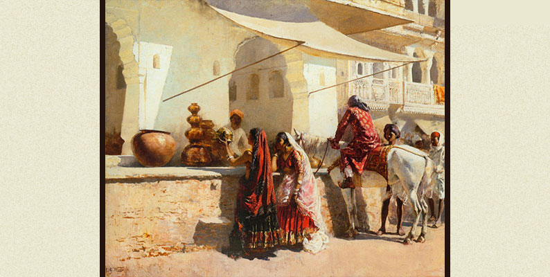 A Street Market Scene, India by Edwin Lord Week