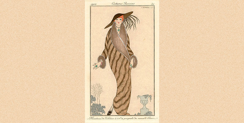 Costumes Parisiens Fashion Illustration No.30, Journal Des Dames Et Des Modes, 1912. Manteau De Zibeline by George Barbier