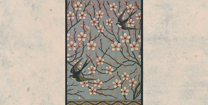 Almond Blossom and Swallow (Wallpaper Design) by Walter Crane